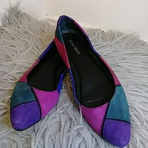 NINE WEST ROUND TOE MULTICOLOR FLATS